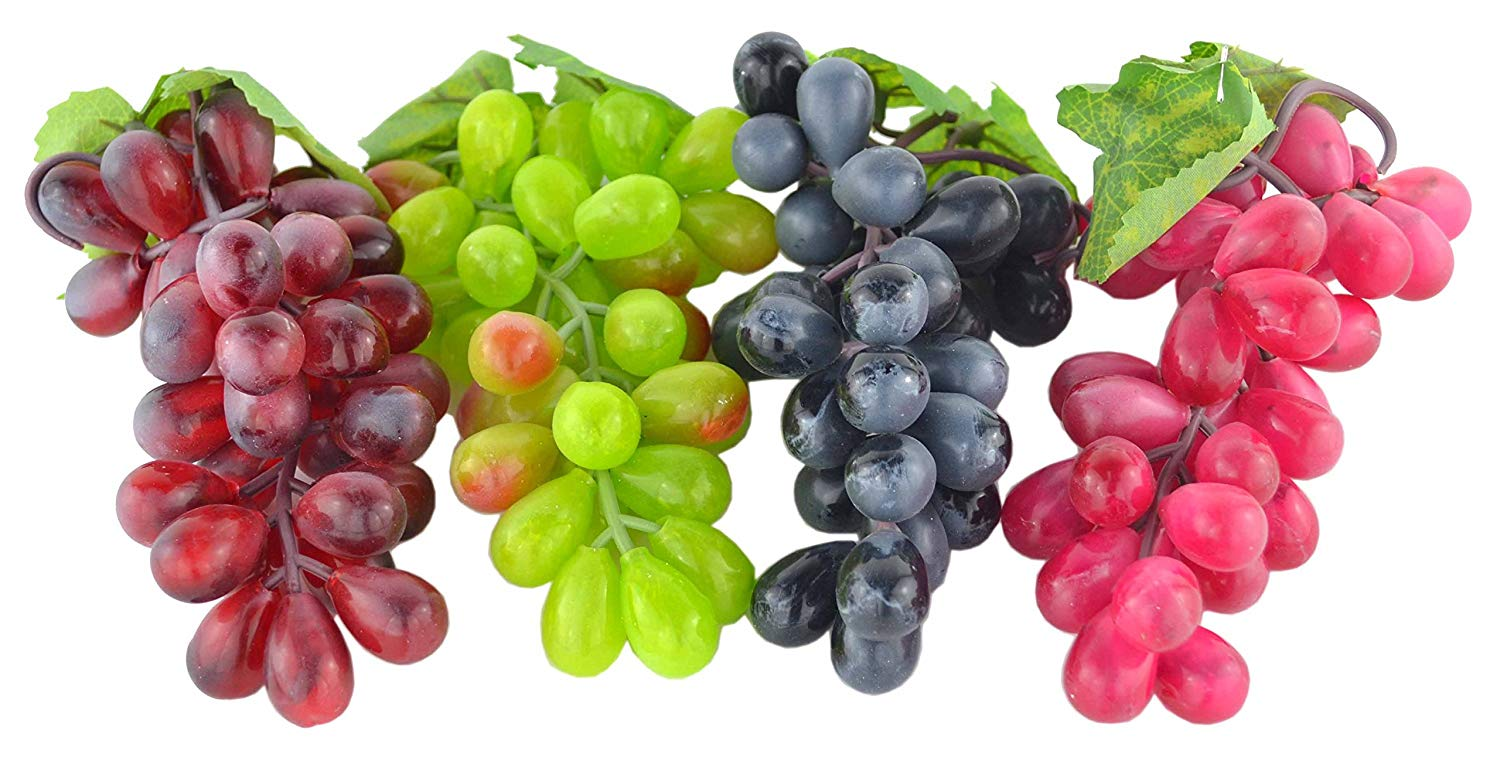 Artificial Black,Red, Green and Purple Grapes