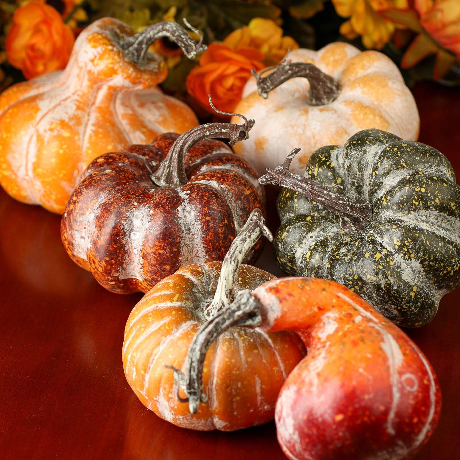Artificial Frosted Gourds and Pumpkins for Halloween