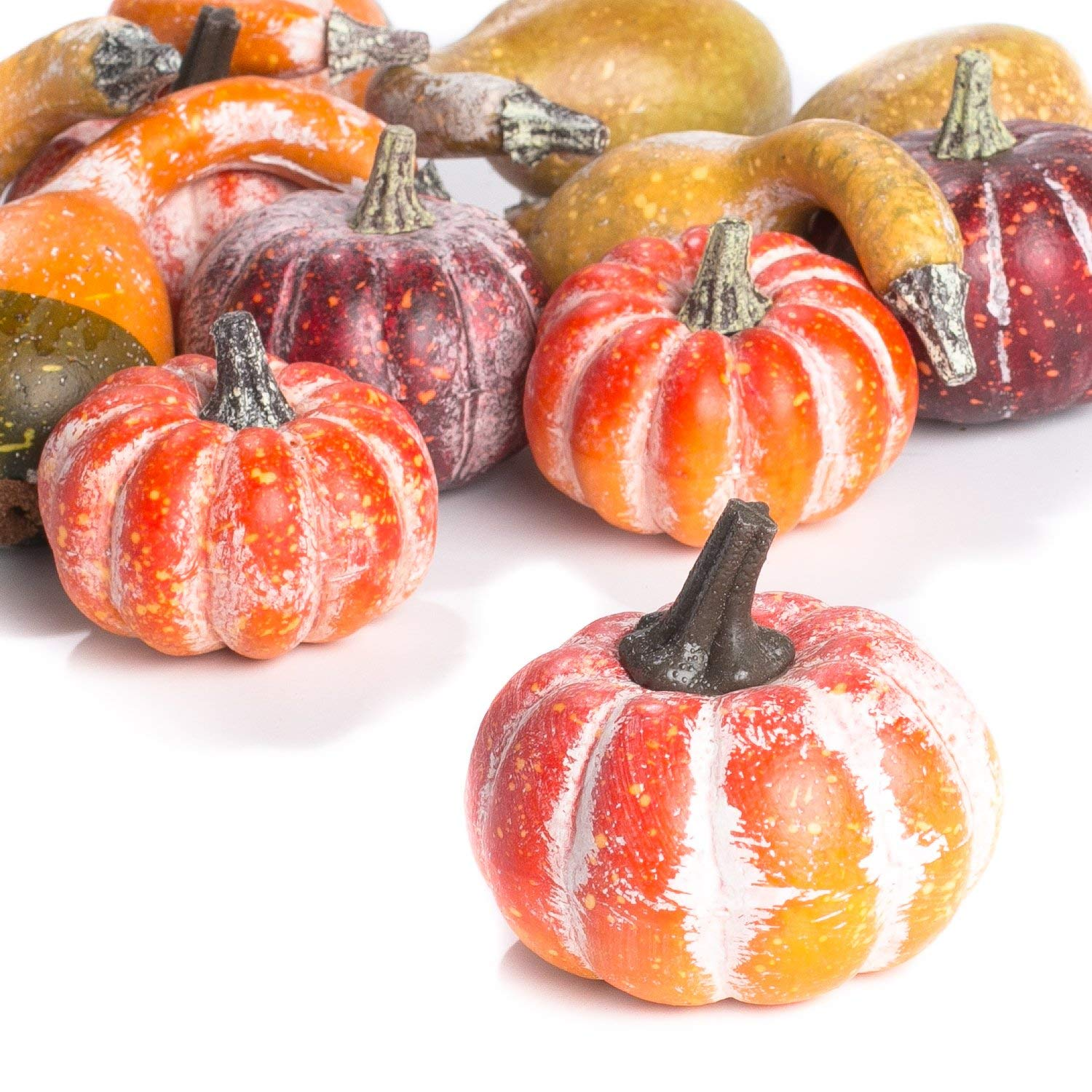Artificial Frosted Pumpkins and Gourds for Autumn